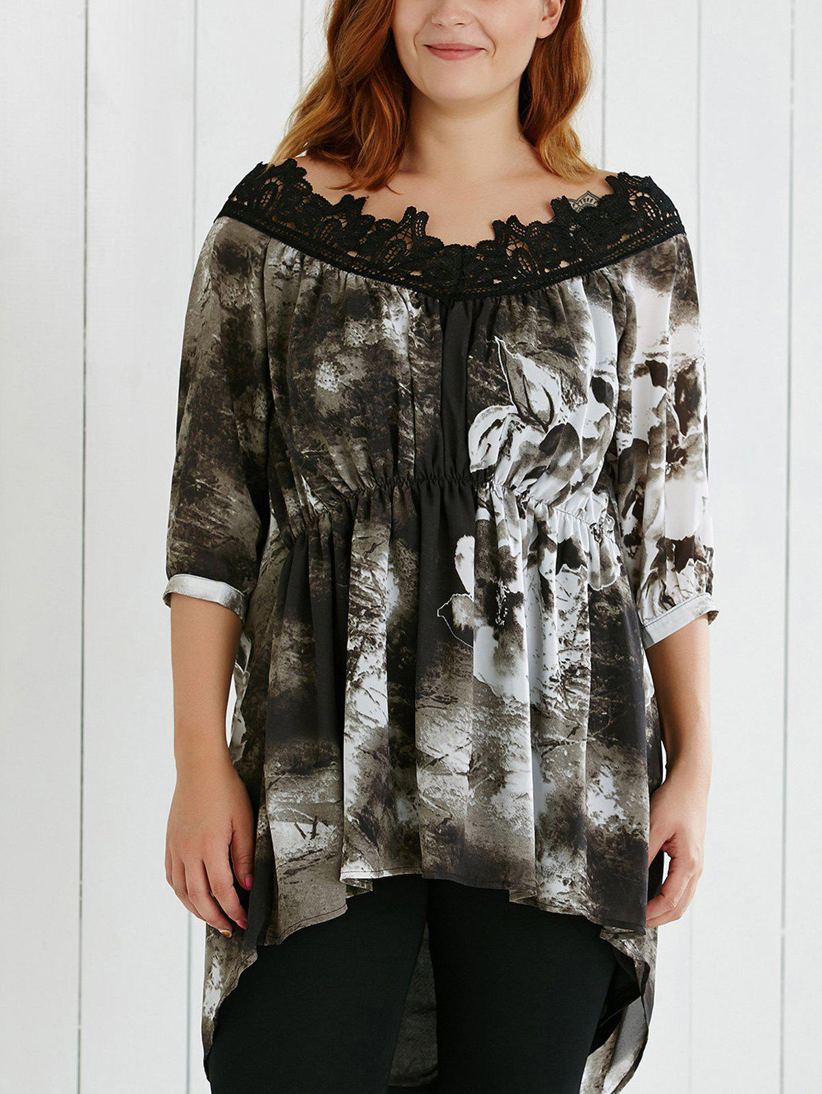 Plus Size Lace Spliced Asymmetric Ink Painting Blouse - COLORMIX 5XL