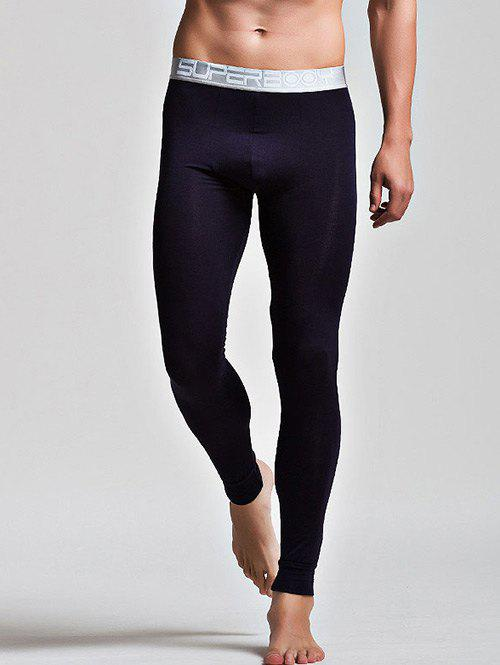 Color Block Letter and Star Print Band Long Johns Pants - BLACK M