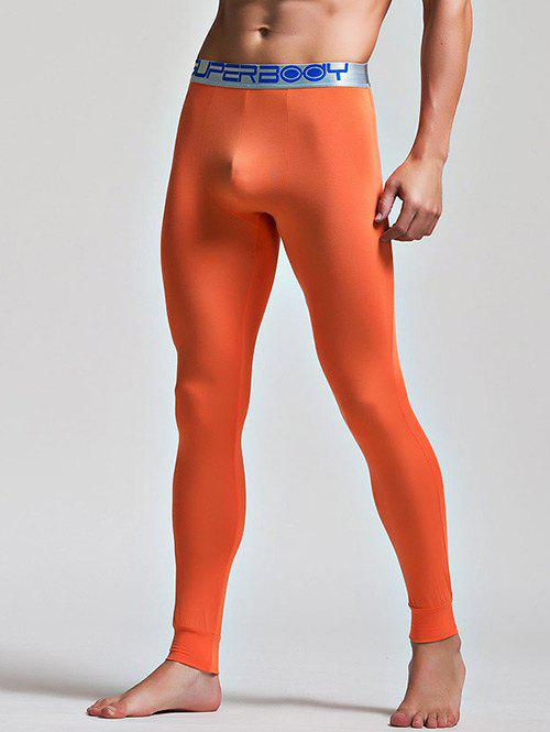 Color Block Letter and Star Print Band Long Johns Pants - ORANGE M