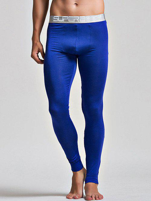 Color Block Letter and Star Print Band Long Johns Pants - DEEP BLUE L