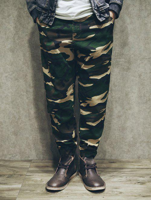 Zipper Fly Patch Pockets Back Camo Loose-Fitting Jogger Pants