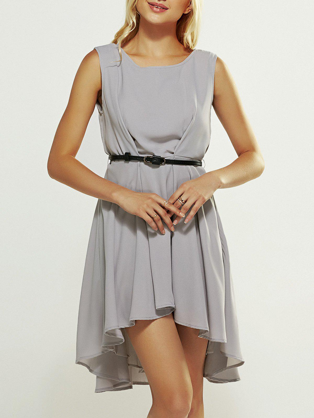 Asymmetric Waisted Chiffon Maxi Dress - GRAY XL