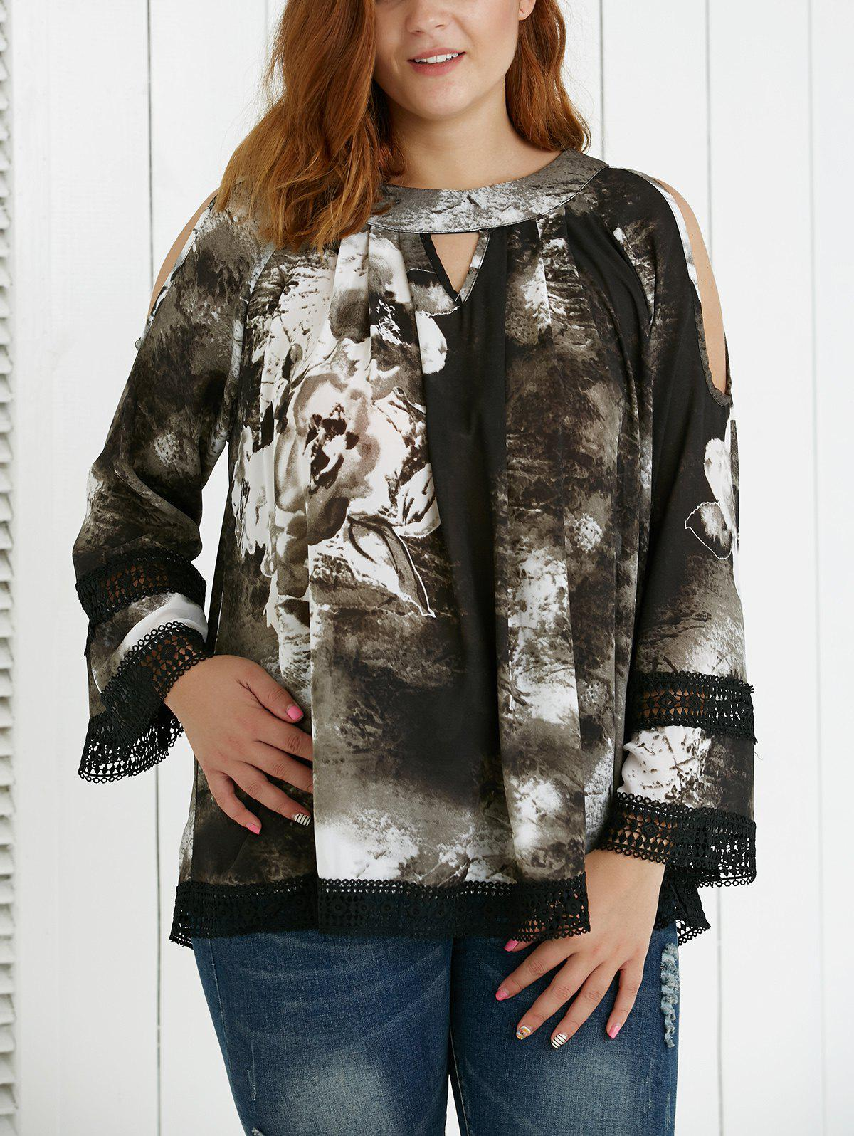 Plus Size Hollow Out Ink Painting Blouse
