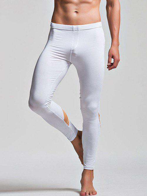 Low Waist Long Johns with Color Insert - WHITE M