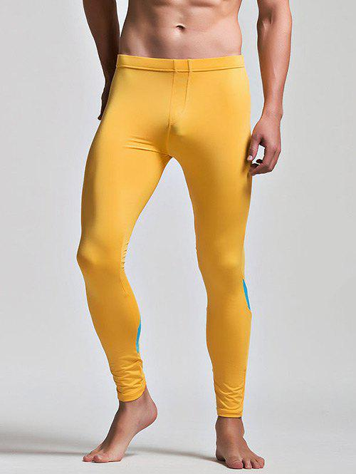 Low Waist Long Johns with Color Insert - YELLOW M