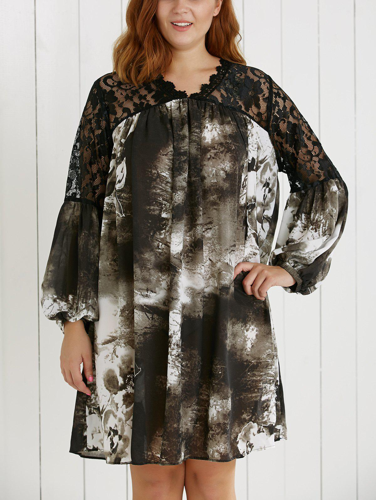 Plus Size Lace Spliced Ink Painting Dress - COLORMIX 5XL