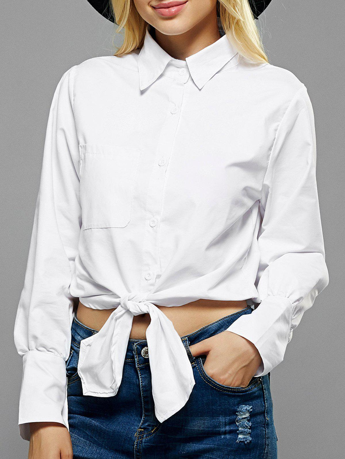 Fitting Drawstring Shirt - WHITE XL