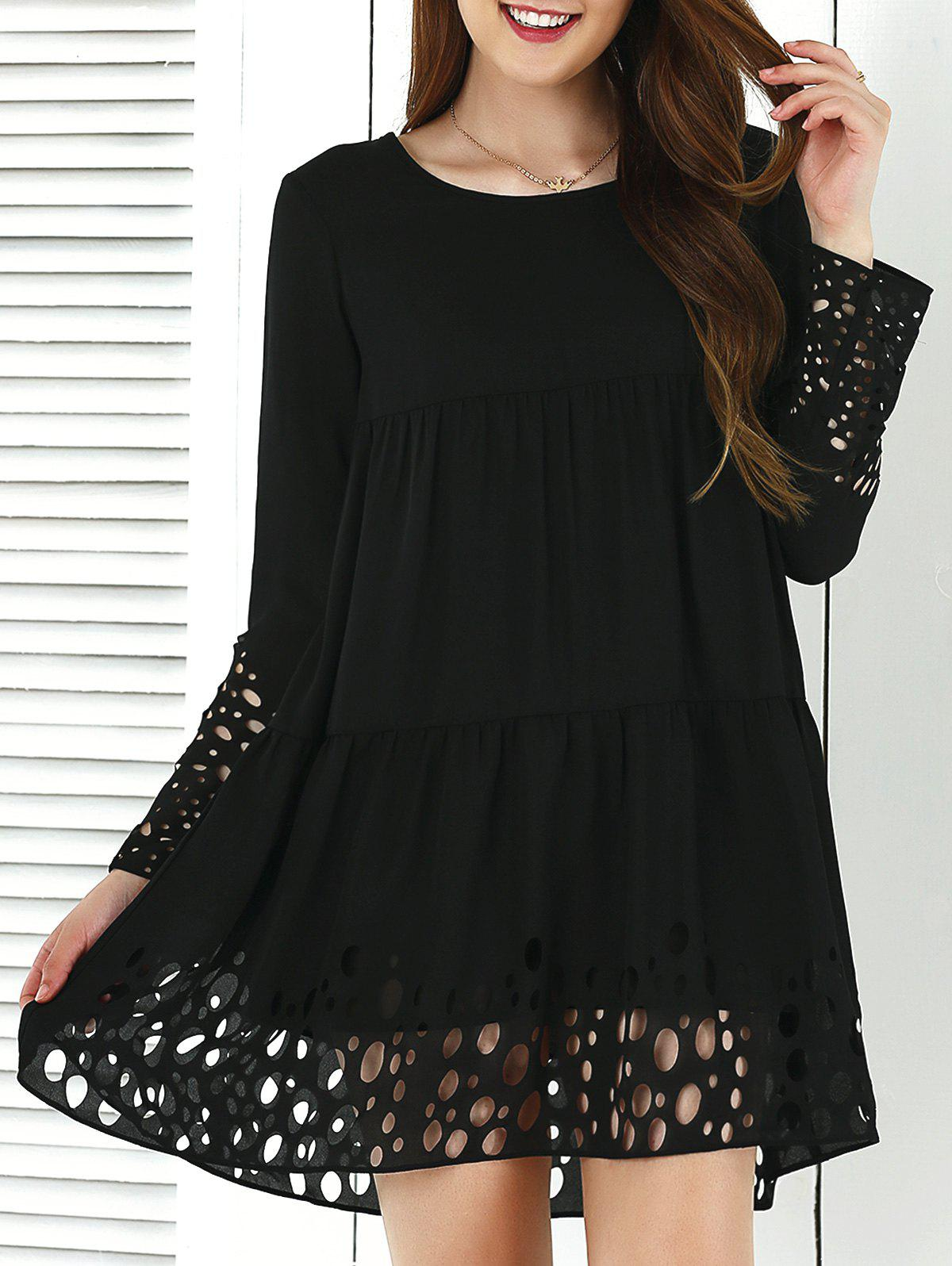 Long Sleeve Hollow Out Smock Dress - BLACK M