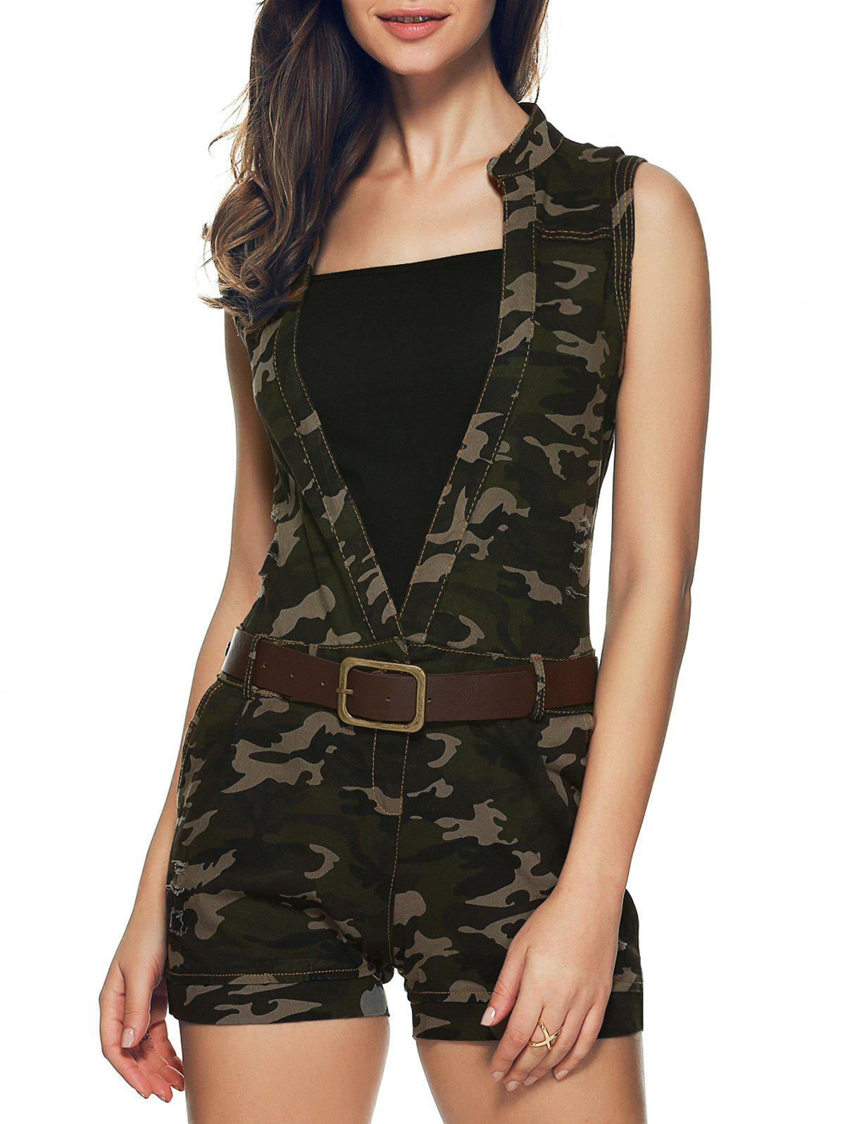 Plunging Neck Camouflage Belted Romper - CAMOUFLAGE L