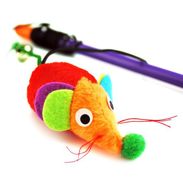 Pet Supply Hand Shank Mouse Shape Catnip Cat Toy - COLORFUL