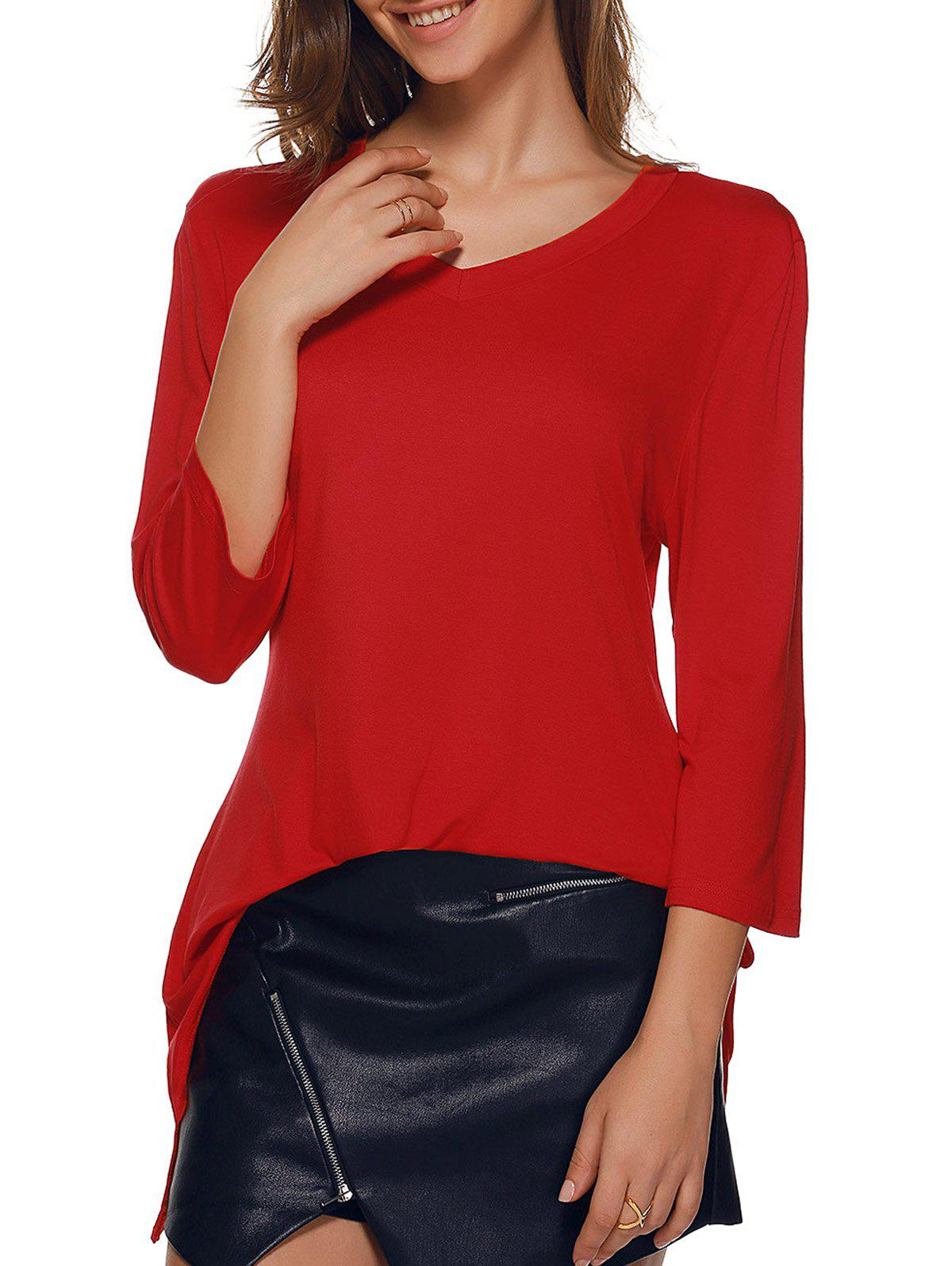 V-Neck Asymmetric Hem Tee - RED 2XL