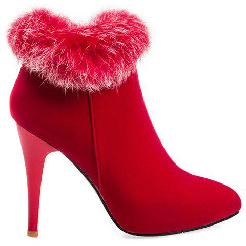 Zip Pointed Toe Suede Ankle Boots - RED 39