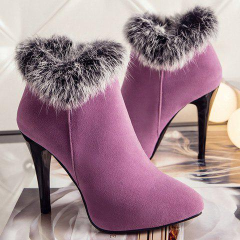 Zip Pointed Toe Suede Ankle Boots - PURPLE 39
