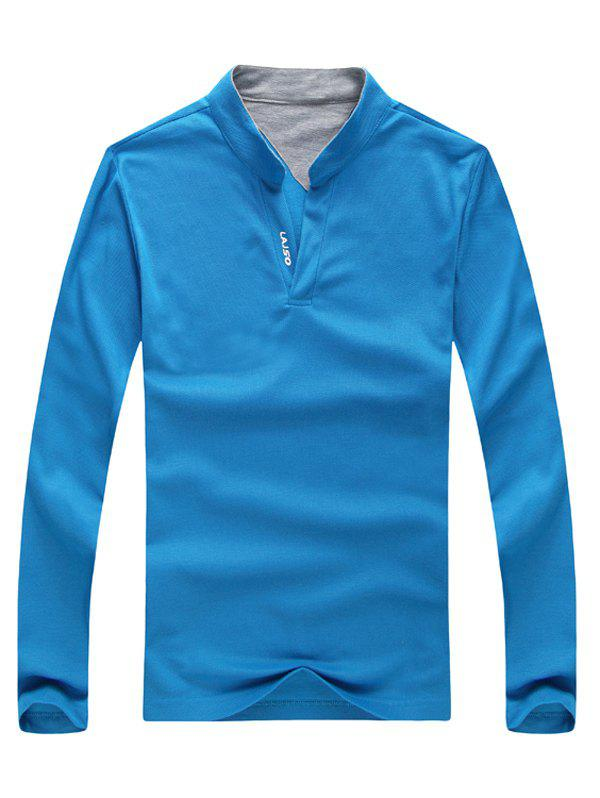 Letter Print Stand Collar Long Sleeve Polo T-Shirt - BLUE M