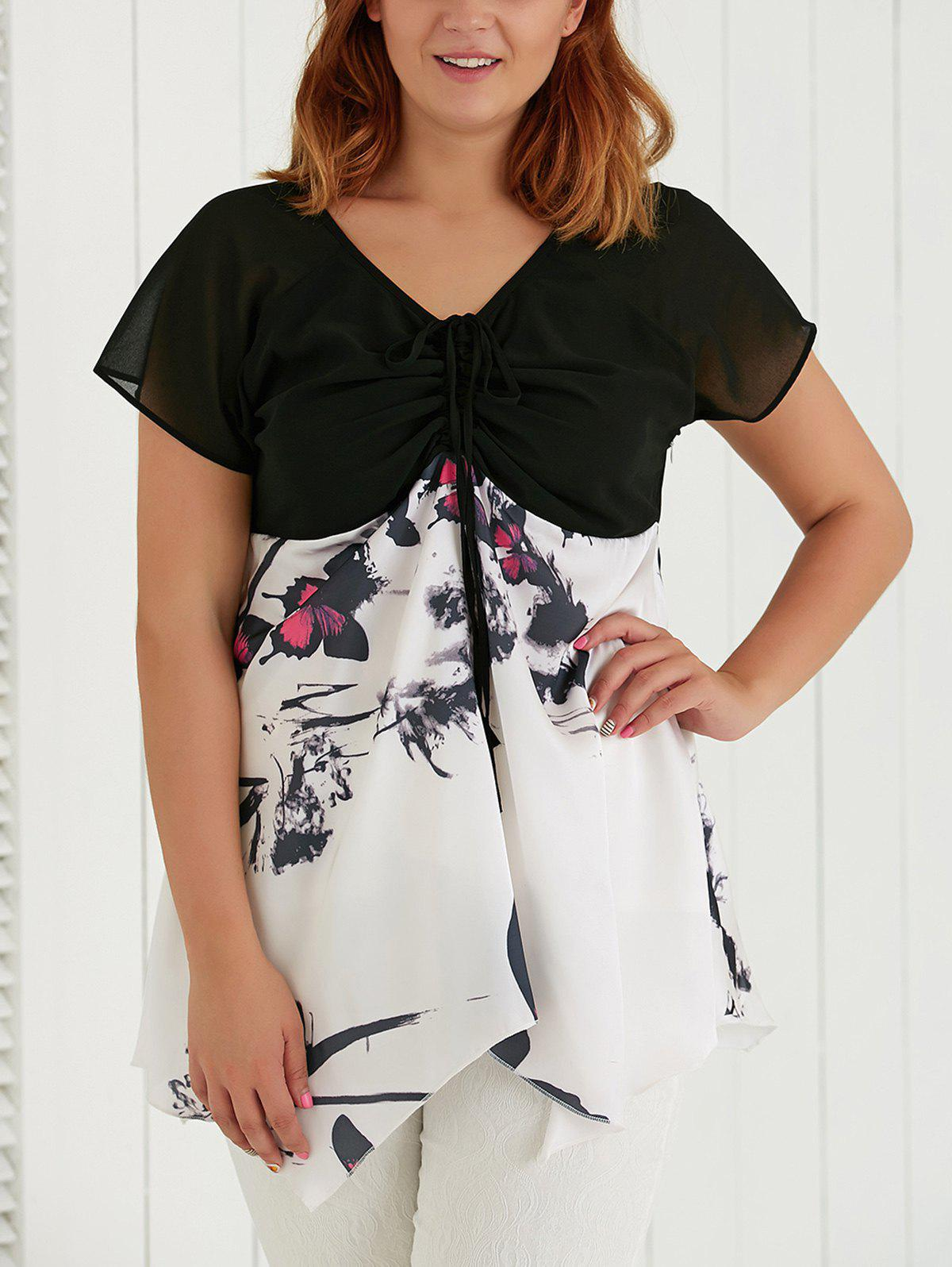 Plus Size V Neck Butterfly Print Asymmetric Blouse - WHITE 5XL