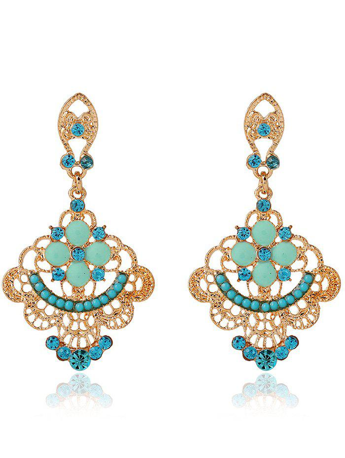 Rhinestone Hollow Out Floral Beads Earrings