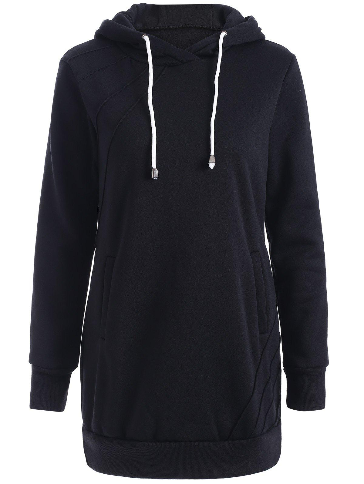 Hooded Long Sweatshirt - BLACK 2XL