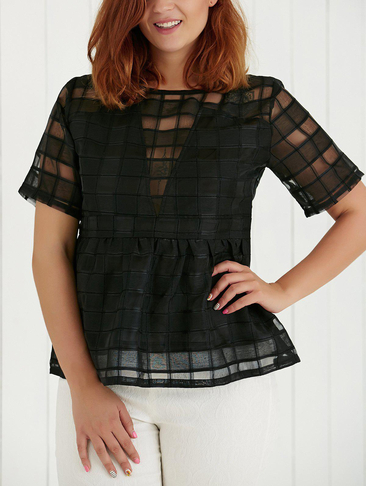 Plus Size Hollow Out Short Sleeve Blouse - BLACK XL