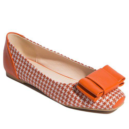 Chaussures PU Splice Bow tissage plat - Orange 38