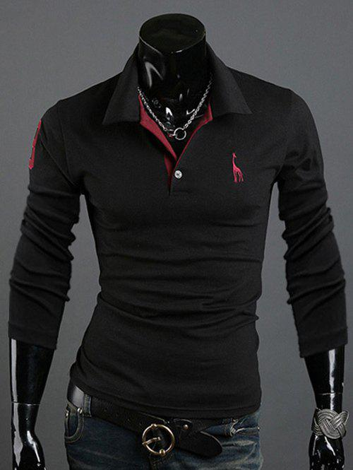 Turn-Down Collar Animal Print Slim-Fit Polo T-Shirt - BLACK L
