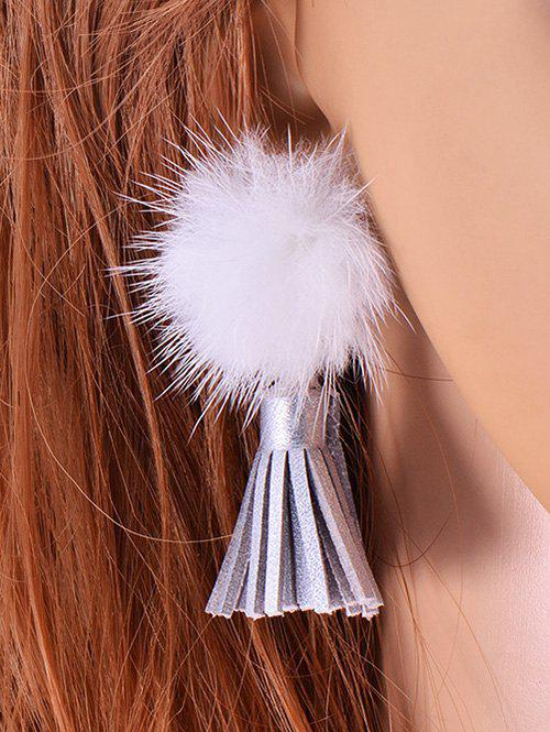 Faux Leather Tassel Velvet Ball Earrings - WHITE