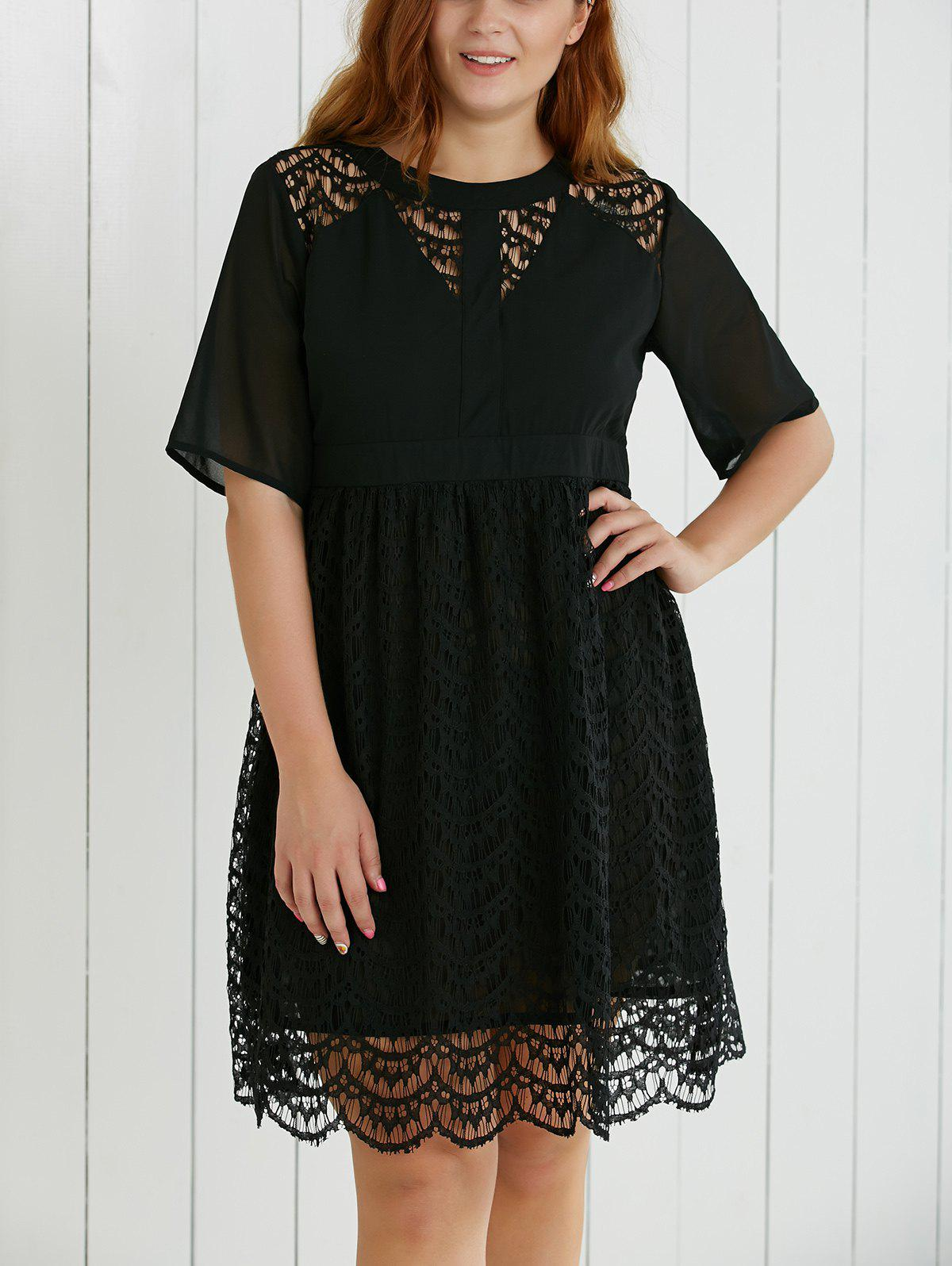 Plus Size Hollow Out Lace Spliced Dress - BLACK 5XL