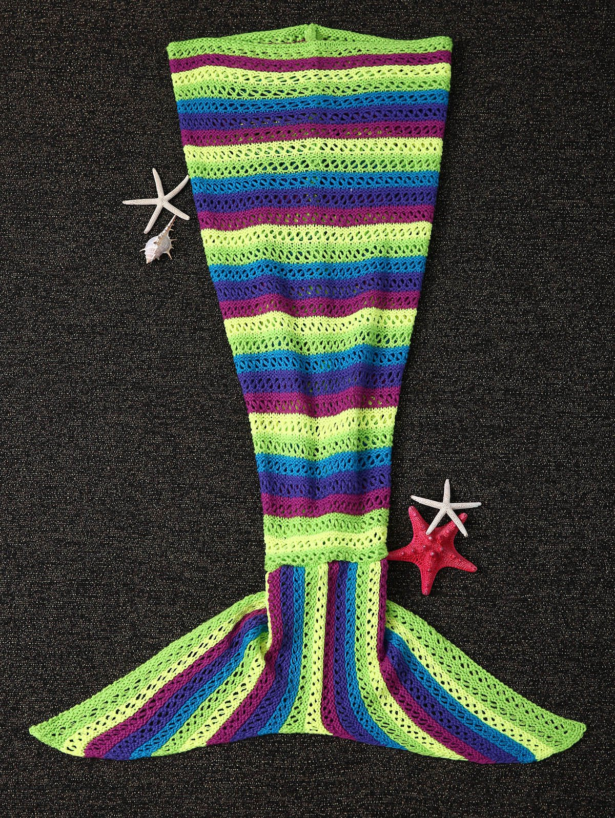 Hollow Out Stripe Pattern Knitting Mermaid Shape Blanket - COLORMIX