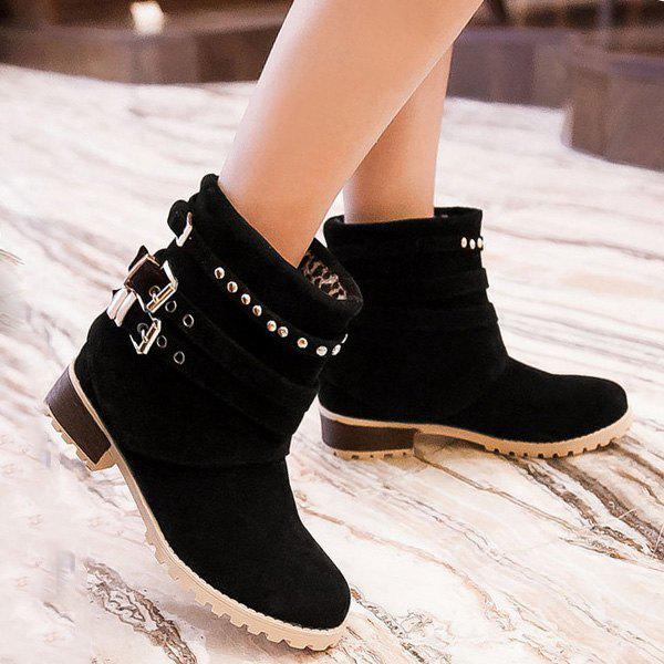 Metallic Buckle Suede Slip-On Ankle Boots - BLACK 37