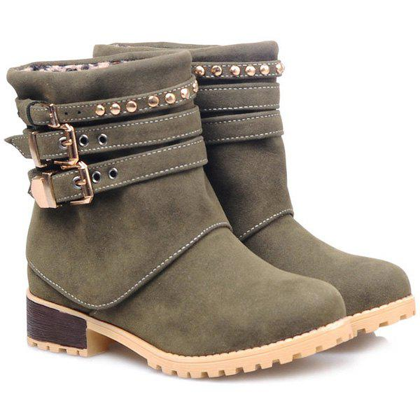 Buy Metallic Buckle Suede Slip-On Ankle Boots GREEN