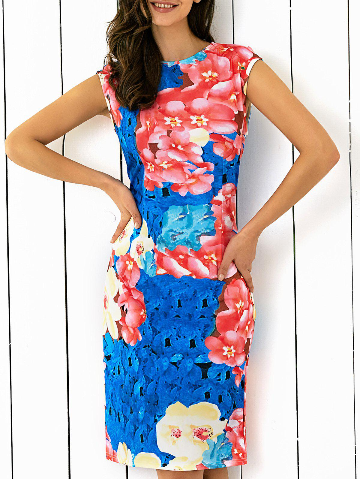 Abstract Floral Printing Skinny Dress - COLORMIX XL
