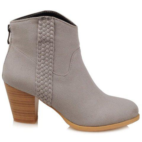 Zip Back Woven Wooden Heel Suede Ankle Boots - GRAY 39