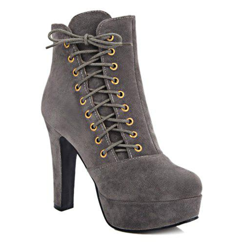 Platform Side Lace-Up Chunky Heel Short Boots - GRAY 39