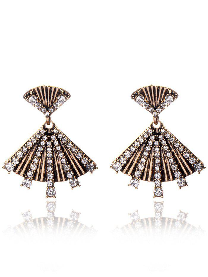 Rhinestone Alloy Fan-Shaped Earrings - YELLOW