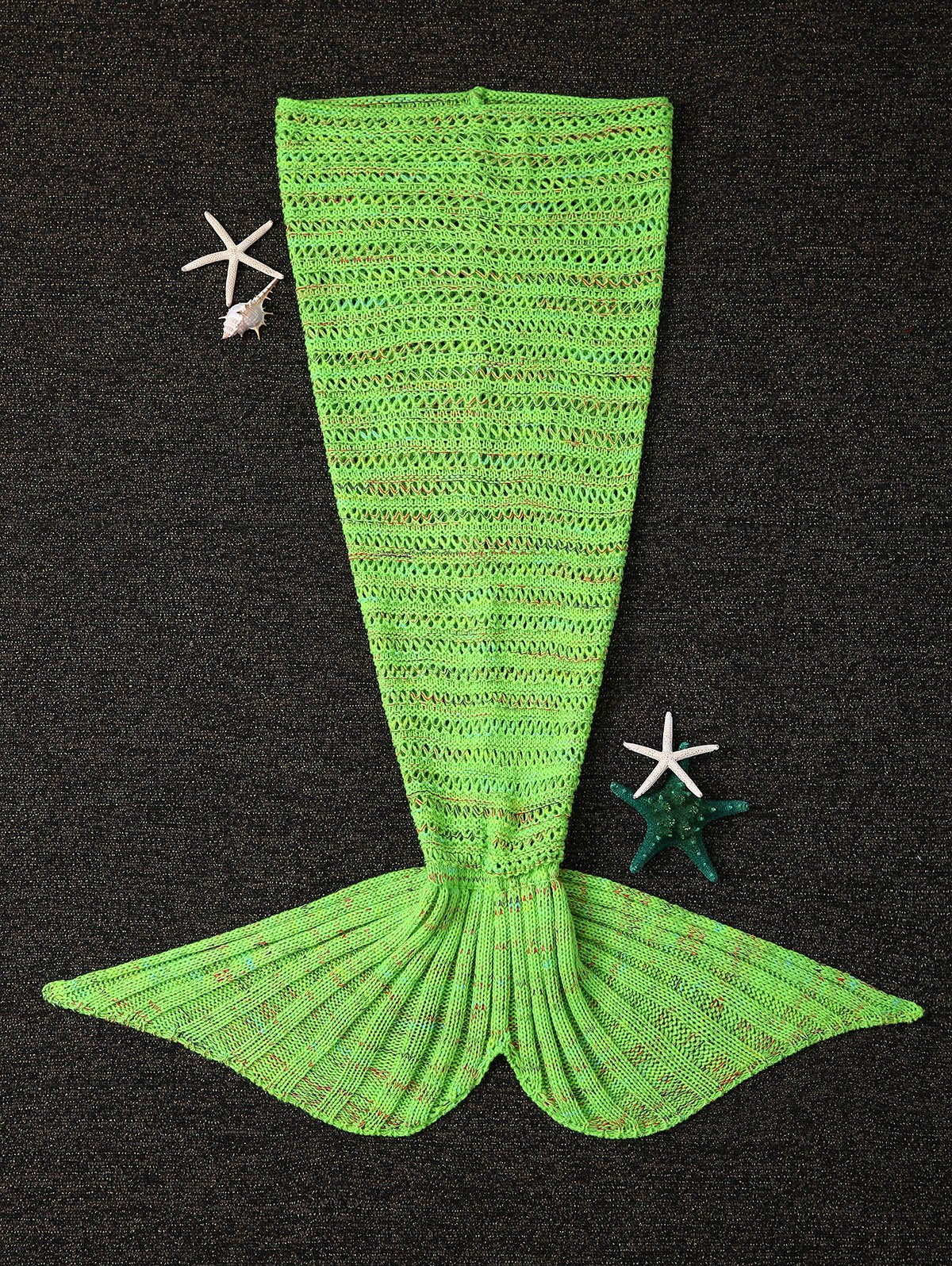 Crochet Knitting Open-Work Design Mermaid Tail Shape Blanket - GREEN