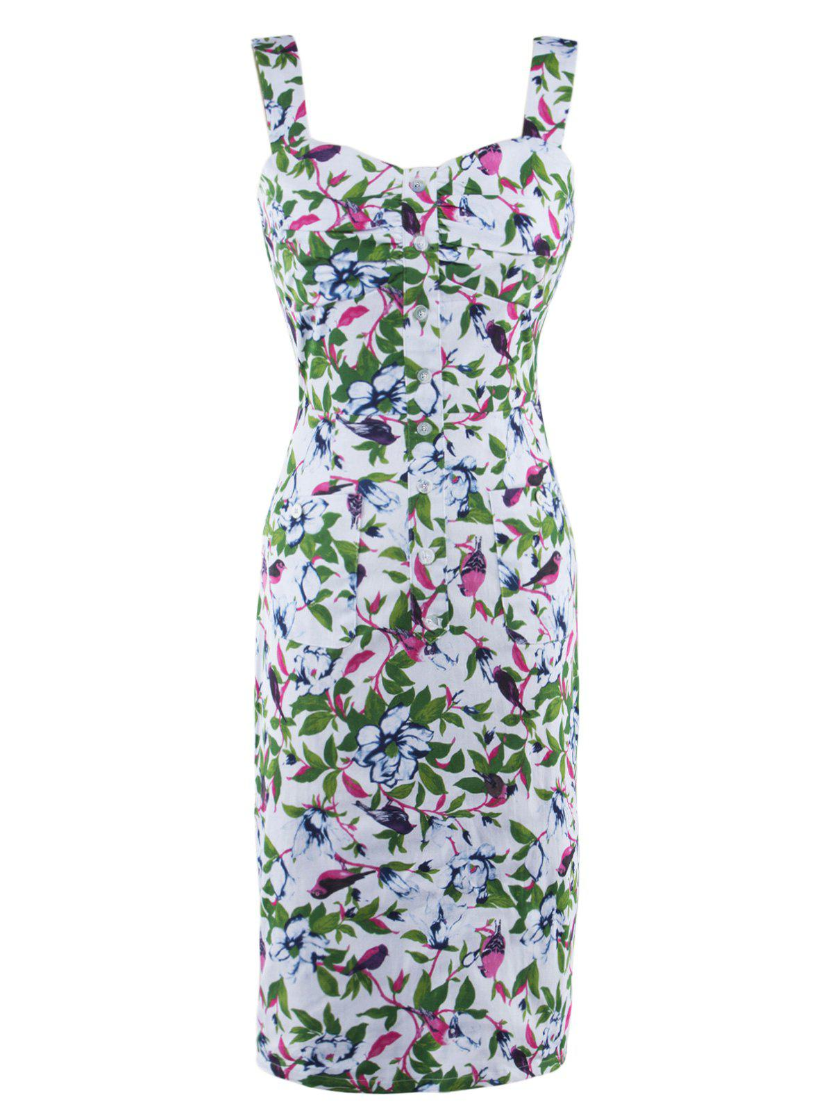 Button Up Floral Print Tea Length Bodycon Dress - GREEN 2XL