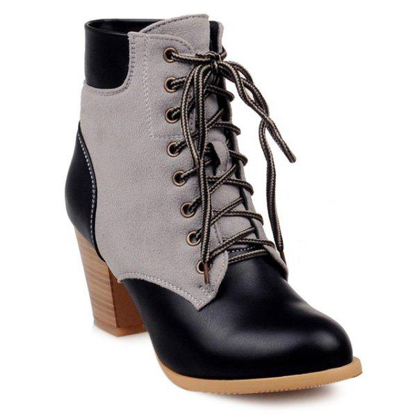 Splicing Wooden Heel Lace-Up Ankle Boots - BLACK 39