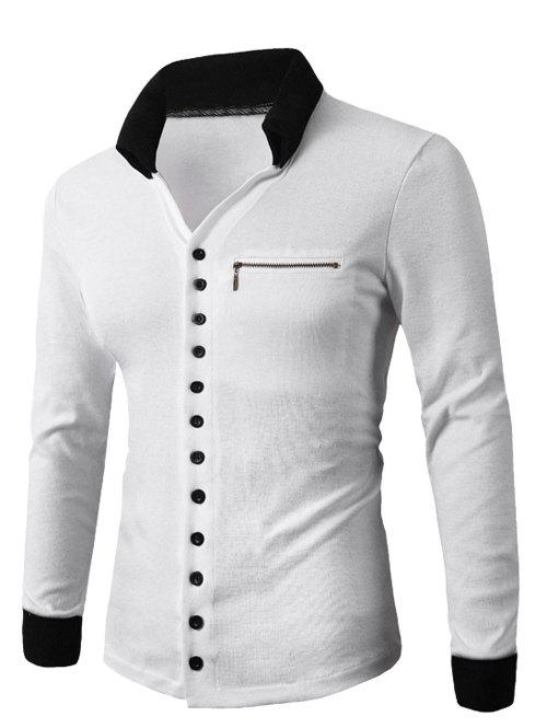 Zipper Embellished Turn-Down Collar Button Up Cardigan - WHITE 2XL