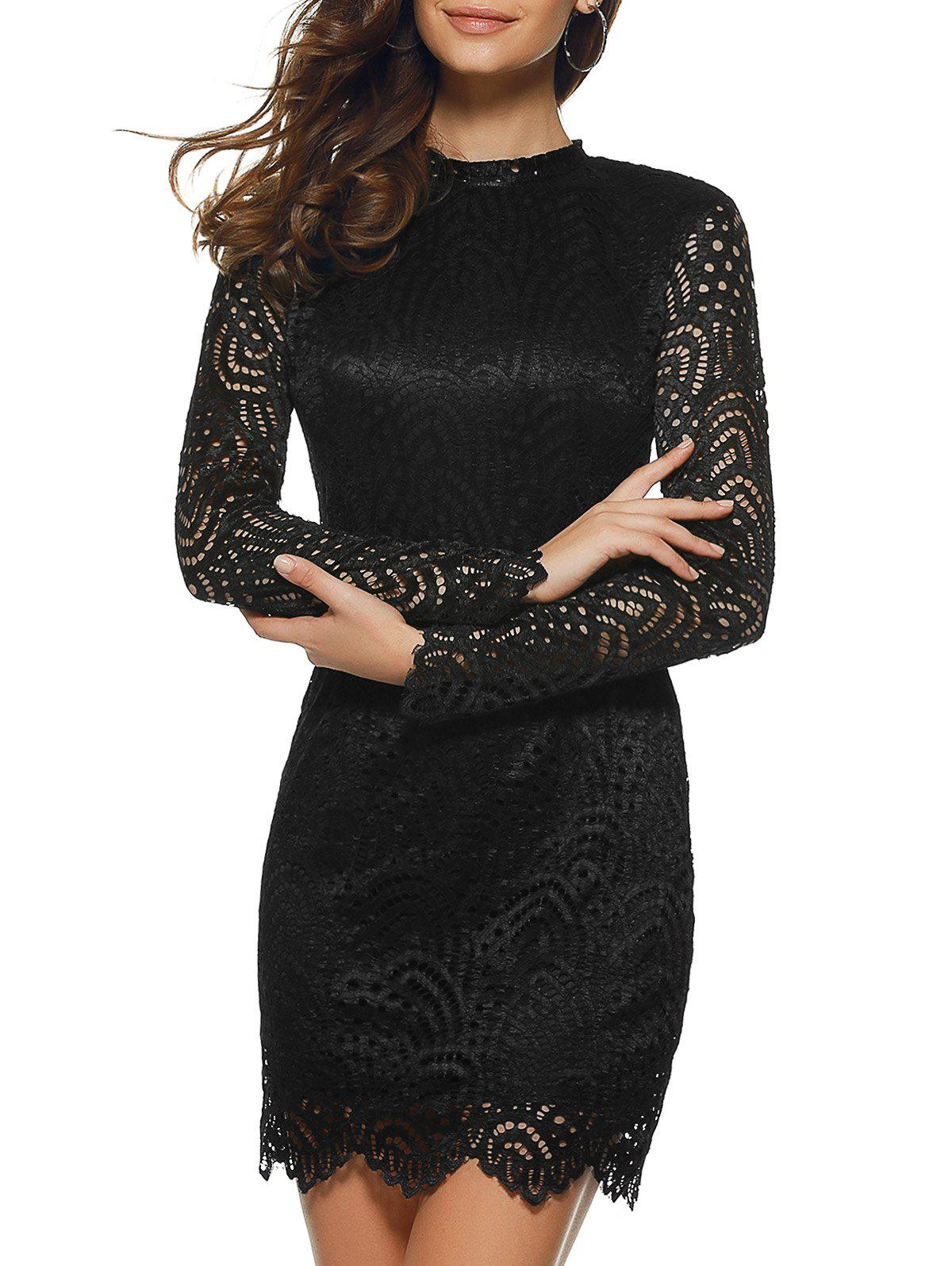 Guipure Openwork Laciness Dress - BLACK XL