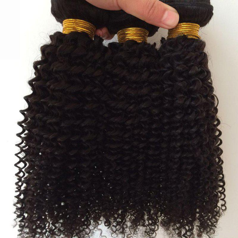 1Pcs Kinky Curly Indian 5A Remy Hair Weave - BLACK 10INCH