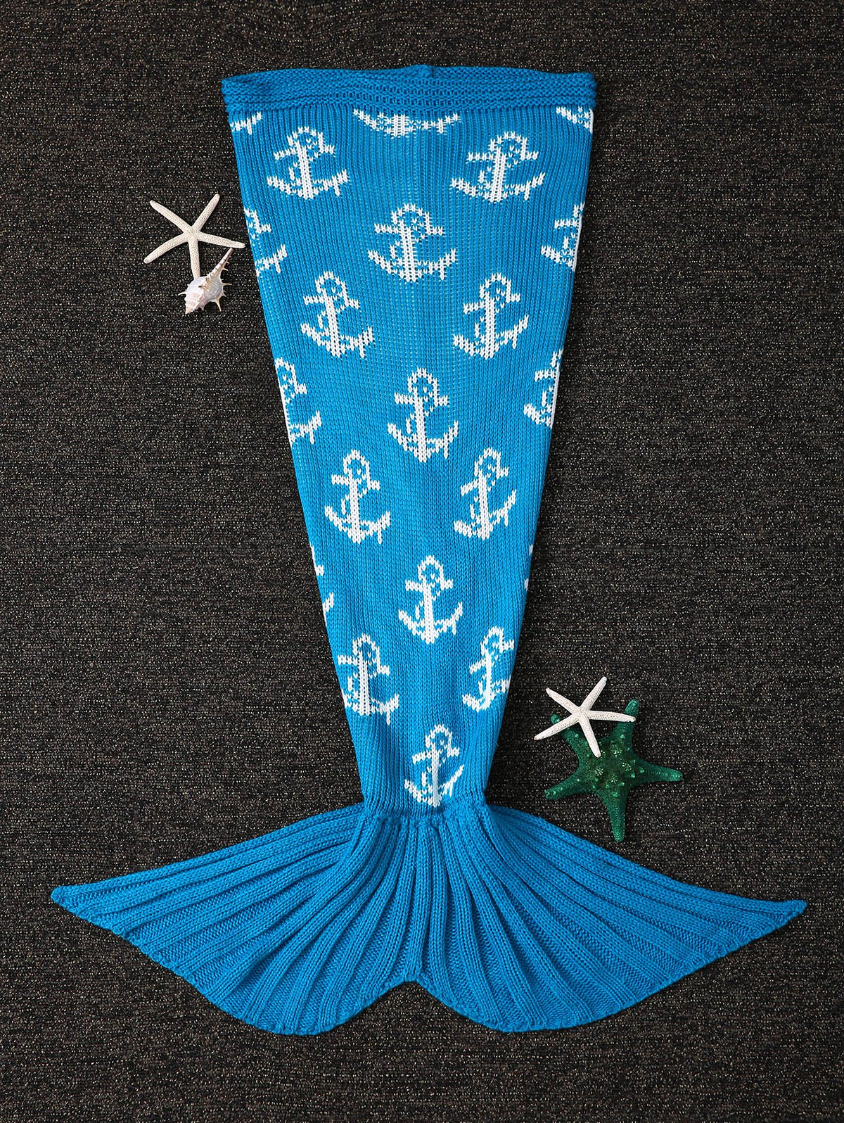 Soft Anchor Design Knitting Mermaid Tail Shape Blanket - BLUE