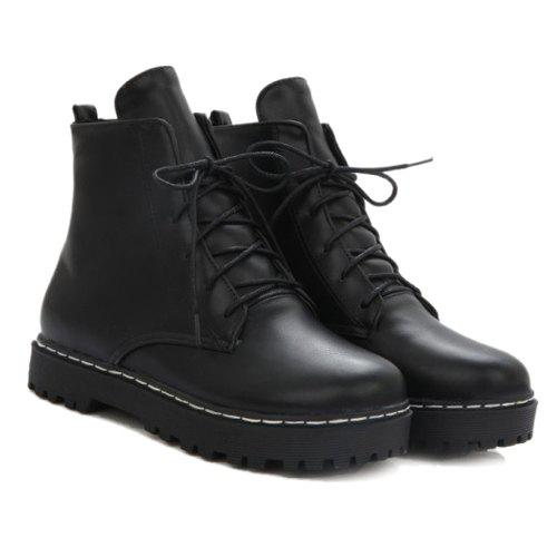 Flat Heel Lace-Up Combat Boots - BLACK 37