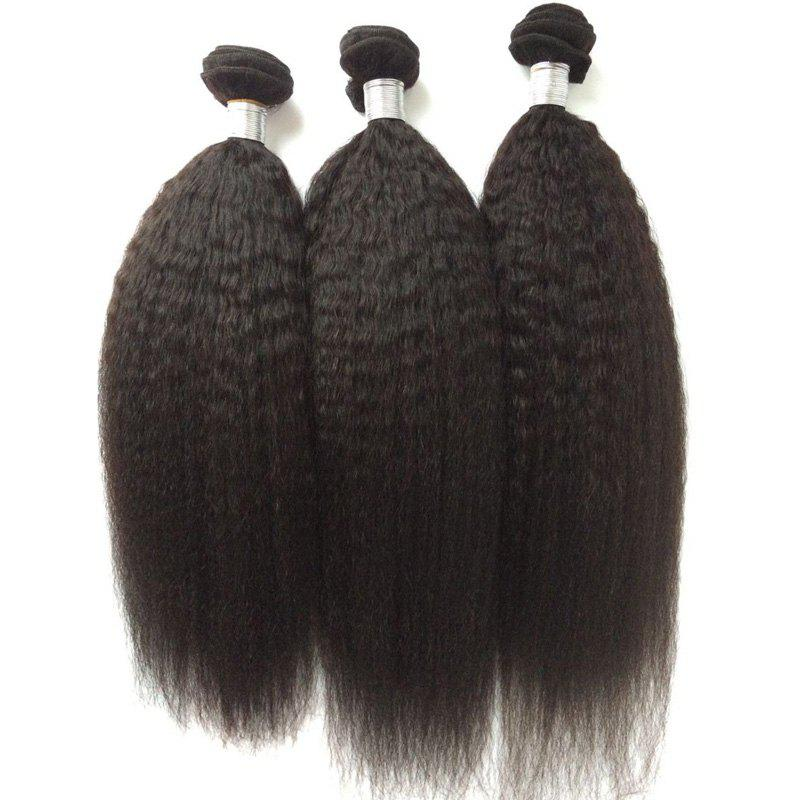 1Pcs Kinky Straight Indian 5A Remy Hair Weave - BLACK 26INCH