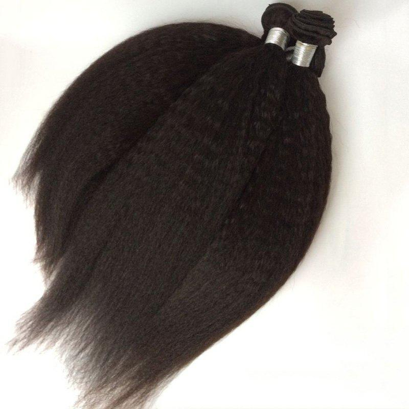1Pcs Kinky Straight Indian 5A Remy Hair Weave - Noir 14INCH