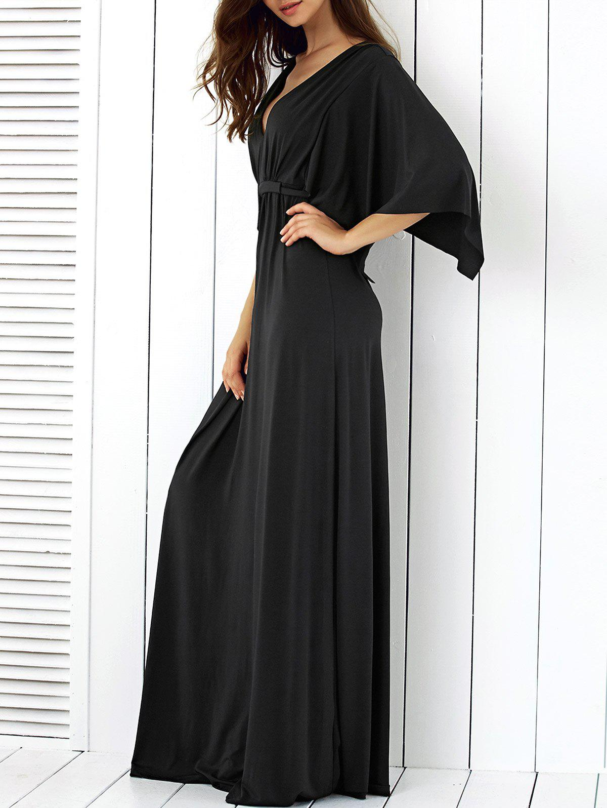 Batwing Sleeve Tied Maxi Dress