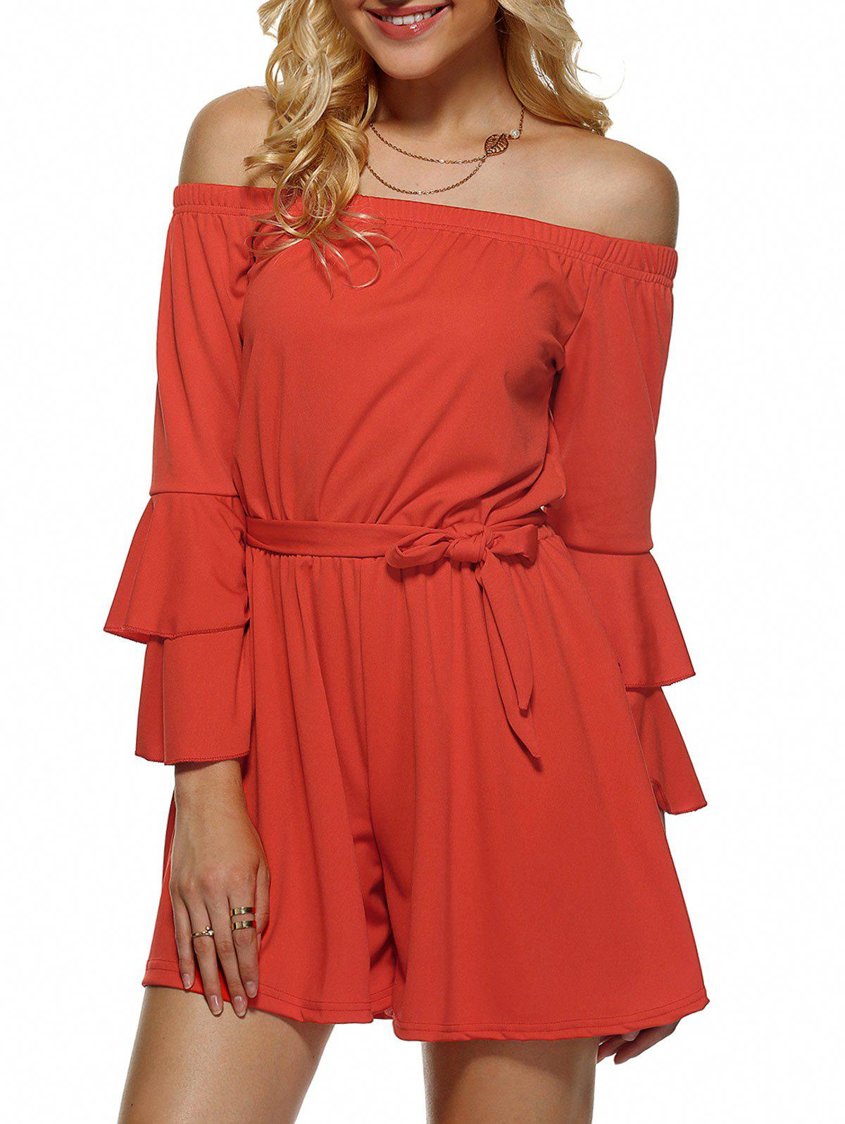 Off-The-Shoulder Flounced Flare Sleeves Romper - JACINTH XL