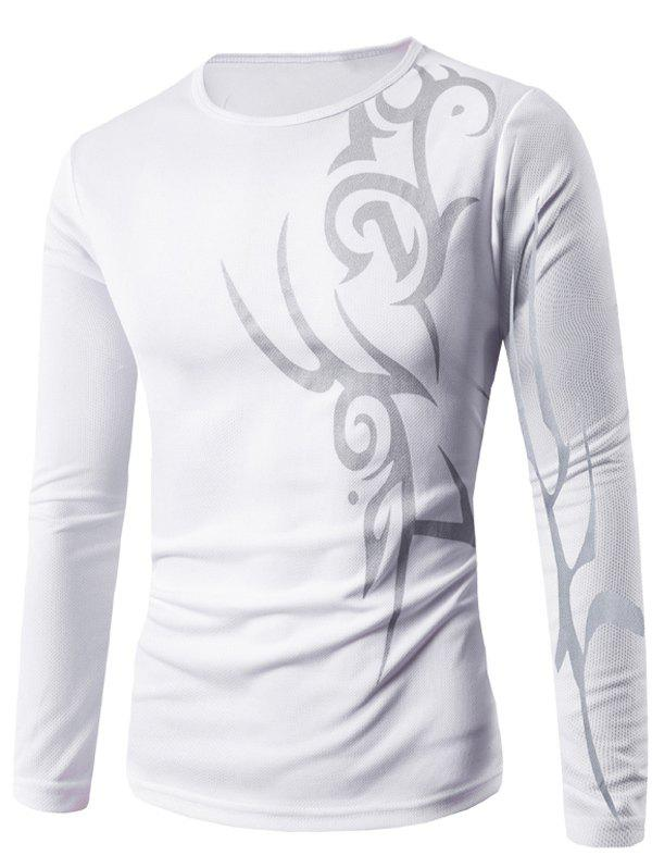 Long Sleeve Round Neck Abstract Pattern T-Shirt - WHITE M