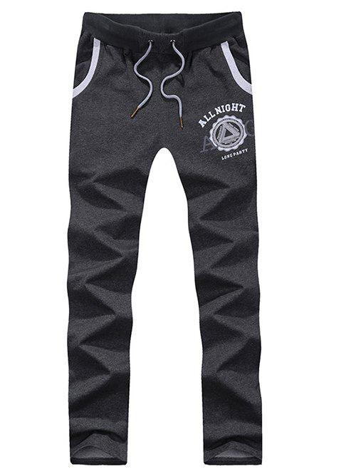 Lace-Up Letters Print Straight Leg Sport Pants - DEEP GRAY L