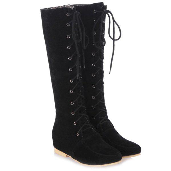 Lace-Up Suede Increased Internal Knee High Boots - BLACK 37