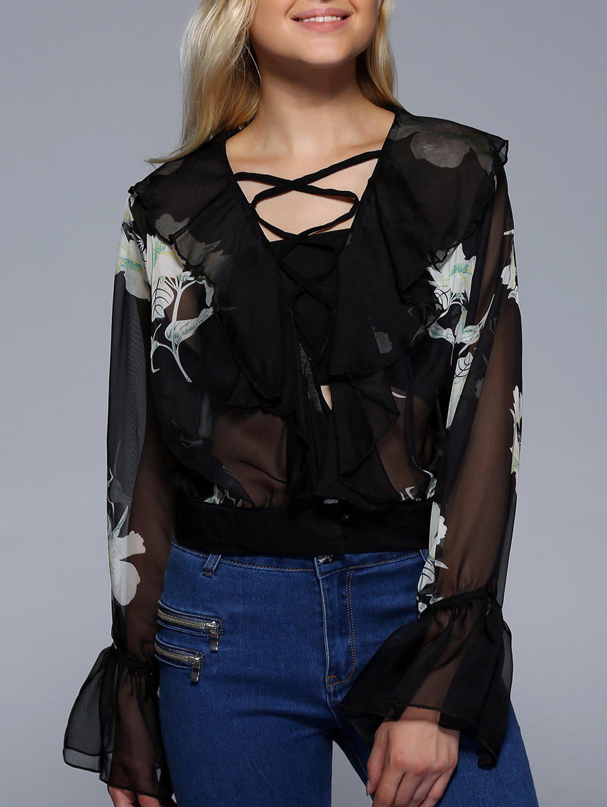 Flare Sleeve Lace-Up See-Through Blouse - BLACK XL