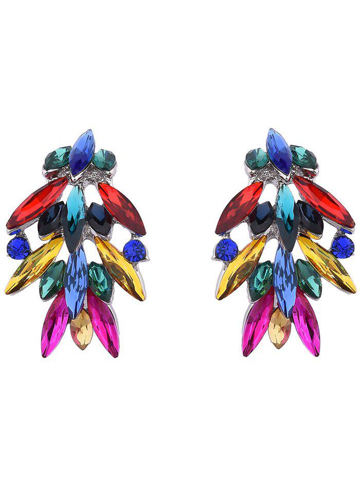 Colored Faux Crystal Drop Earrings - COLORMIX